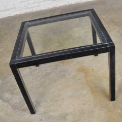 Vintage blackened oak parsons style side table with glass top - 1693049