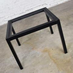 Vintage blackened oak parsons style side table with glass top - 1693051