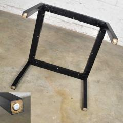 Vintage blackened oak parsons style side table with glass top - 1693073