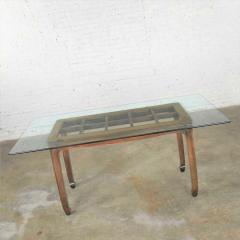 Vintage chinoiserie chow leg glass top dining table walnut color finish - 1588856