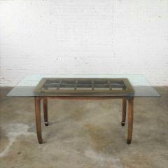 Vintage chinoiserie chow leg glass top dining table walnut color finish - 1588857