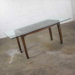 Vintage chinoiserie chow leg glass top dining table walnut color finish - 1588858
