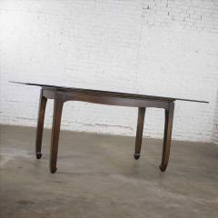 Vintage chinoiserie chow leg glass top dining table walnut color finish - 1588860