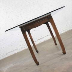 Vintage chinoiserie chow leg glass top dining table walnut color finish - 1588861