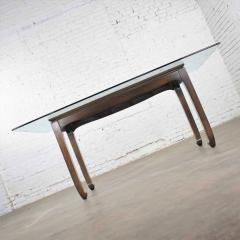 Vintage chinoiserie chow leg glass top dining table walnut color finish - 1588867