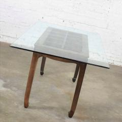 Vintage chinoiserie chow leg glass top dining table walnut color finish - 1588868