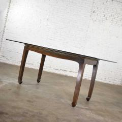 Vintage chinoiserie chow leg glass top dining table walnut color finish - 1588869