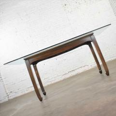 Vintage chinoiserie chow leg glass top dining table walnut color finish - 1588870