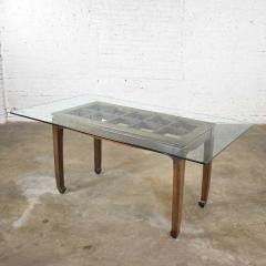 Vintage chinoiserie chow leg glass top dining table walnut color finish - 1588871