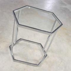 Vintage modern chrome and glass hexagon petite side table or occasional table - 1681960