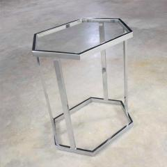 Vintage modern chrome and glass hexagon petite side table or occasional table - 1682005
