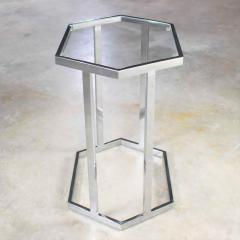 Vintage modern chrome and glass hexagon petite side table or occasional table - 1682006