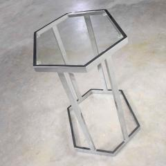 Vintage modern chrome and glass hexagon petite side table or occasional table - 1682007