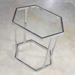 Vintage modern chrome and glass hexagon petite side table or occasional table - 1682010