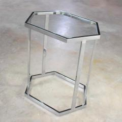 Vintage modern chrome and glass hexagon petite side table or occasional table - 1682028