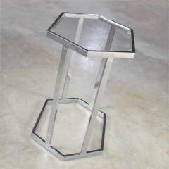 Vintage modern chrome and glass hexagon petite side table or occasional table - 1682031