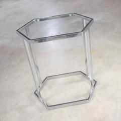 Vintage modern chrome and glass hexagon petite side table or occasional table - 1682032