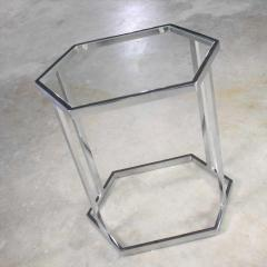 Vintage modern chrome and glass hexagon petite side table or occasional table - 1682035