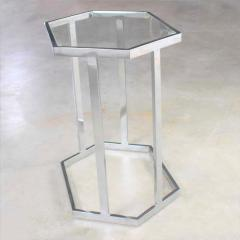 Vintage modern chrome and glass hexagon petite side table or occasional table - 1682056