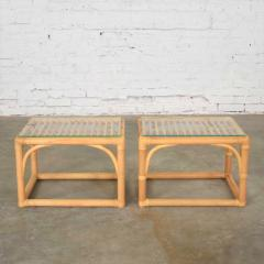 Vintage modern pair of rattan rectangular side tables or end tables w glass top - 1588872