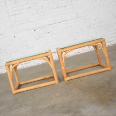 Vintage modern pair of rattan rectangular side tables or end tables w glass top - 1588873