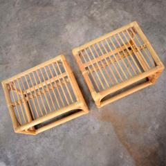 Vintage modern pair of rattan rectangular side tables or end tables w glass top - 1588874