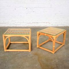 Vintage modern pair of rattan rectangular side tables or end tables w glass top - 1588875
