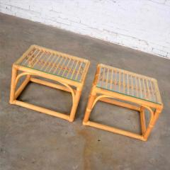 Vintage modern pair of rattan rectangular side tables or end tables w glass top - 1588876