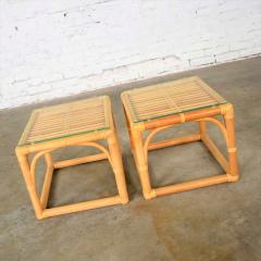 Vintage modern pair of rattan rectangular side tables or end tables w glass top - 1588889