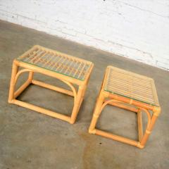Vintage modern pair of rattan rectangular side tables or end tables w glass top - 1588890