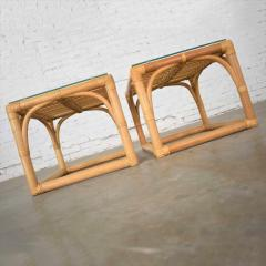 Vintage modern pair of rattan rectangular side tables or end tables w glass top - 1588893