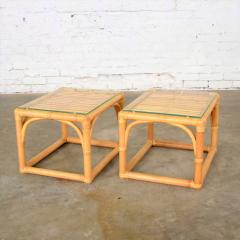 Vintage modern pair of rattan rectangular side tables or end tables w glass top - 1588897