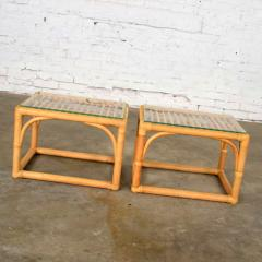 Vintage modern pair of rattan rectangular side tables or end tables w glass top - 1588898
