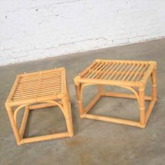 Vintage modern pair of rattan rectangular side tables or end tables w glass top - 1588905