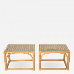 Vintage modern pair of rattan rectangular side tables or end tables w glass top - 1590125