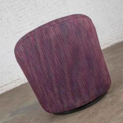 Vintage modern tub shaped swivel rocking chair in eggplant purple upholstery - 1780954