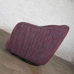 Vintage modern tub shaped swivel rocking chair in eggplant purple upholstery - 1780957
