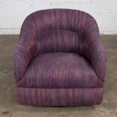 Vintage modern tub shaped swivel rocking chair in eggplant purple upholstery - 1780958