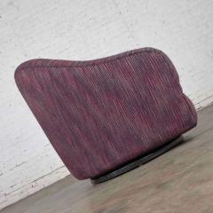 Vintage modern tub shaped swivel rocking chair in eggplant purple upholstery - 1780983
