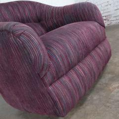 Vintage modern tub shaped swivel rocking chair in eggplant purple upholstery - 1780988