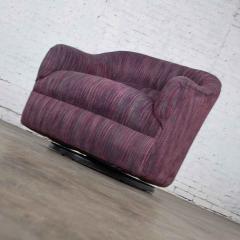 Vintage modern tub shaped swivel rocking chair in eggplant purple upholstery - 1781007