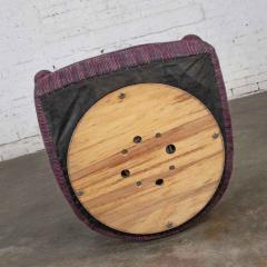 Vintage modern tub shaped swivel rocking chair in eggplant purple upholstery - 1781014