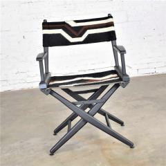 Vintage needlepoint director s chair folding black brown white geometric - 1588630