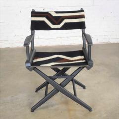 Vintage needlepoint director s chair folding black brown white geometric - 1588632