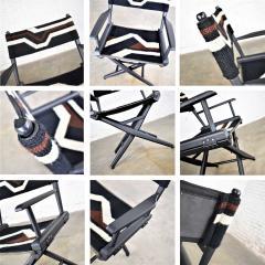 Vintage needlepoint director s chair folding black brown white geometric - 1588633