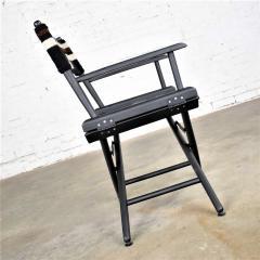 Vintage needlepoint director s chair folding black brown white geometric - 1588678