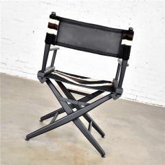 Vintage needlepoint director s chair folding black brown white geometric - 1588681