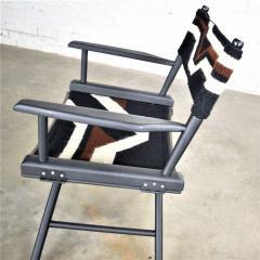 Vintage needlepoint director s chair folding black brown white geometric - 1588683