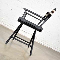 Vintage needlepoint director s chair folding black brown white geometric - 1588685