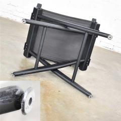 Vintage needlepoint director s chair folding black brown white geometric - 1588687